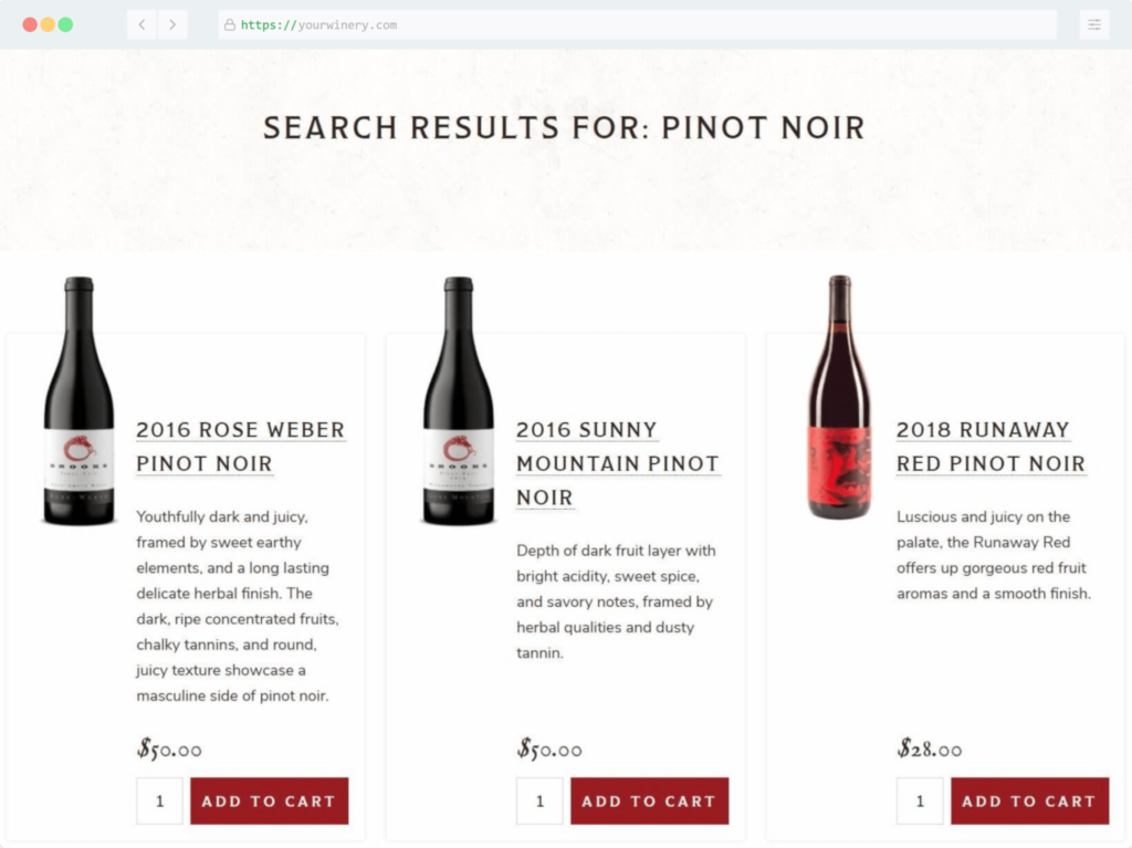 Commerce7 products appearing in your website search results